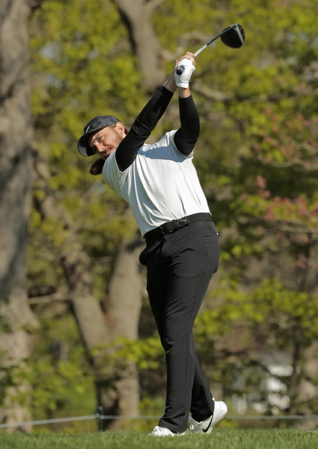 Tommy Fleetwood, of England, tees off the 16th hole during the first round of the PGA Championship golf tournament, Thursday, May 16, 2019, at Bethpage Black in Farmingdale, N.Y. (AP Photo/Andres Kudacki)