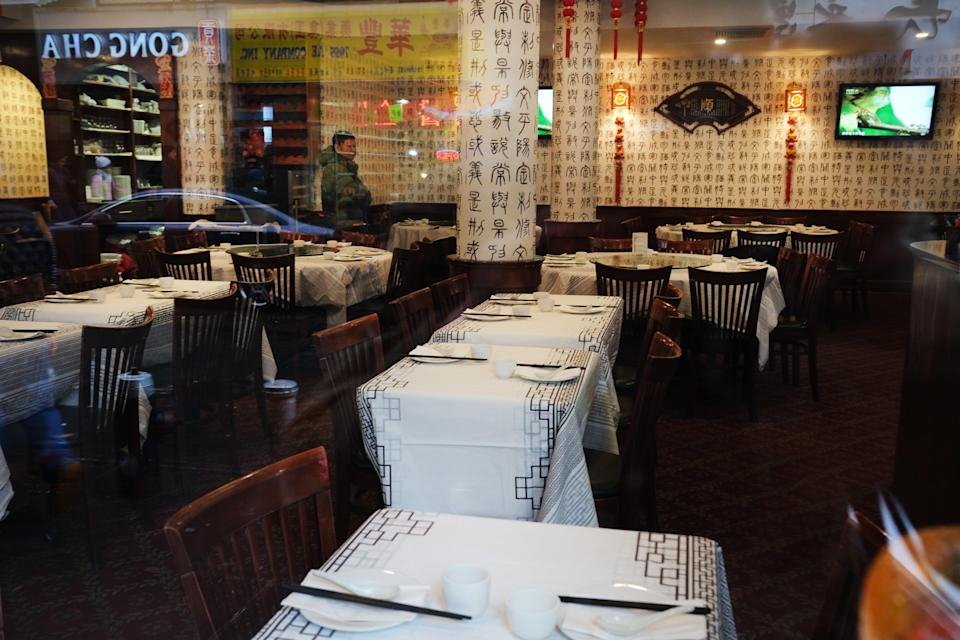 <p>NEW YORK, NEW YORK - FEBRUARY 13:  An empty restaurant stands in New York's Chinatown on February 13, 2020 in New York City. Gregg Bishop, commissioner of the Department of Small Business Services in New York, has said that revenues are down around  40% in Chinatown as fears continue over the coronavirus. There are no confirmed coronavirus cases in New York City and the city is urging people to visit Chinatown to shop and dine. </p> ((Photo by Spencer Platt/Getty Images))