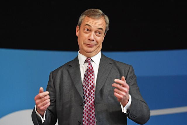 Brexit Party leader Nigel Farage speaks at Barnby Memorial Hall in Worksop, Nottinghamshire, while on the General Election campaign trail. (PA Images)