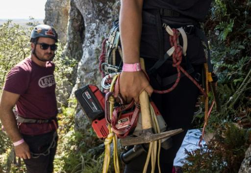 Climbers get ready for Cerro Arequita, a rock face north of the city of Minas in Uruguay