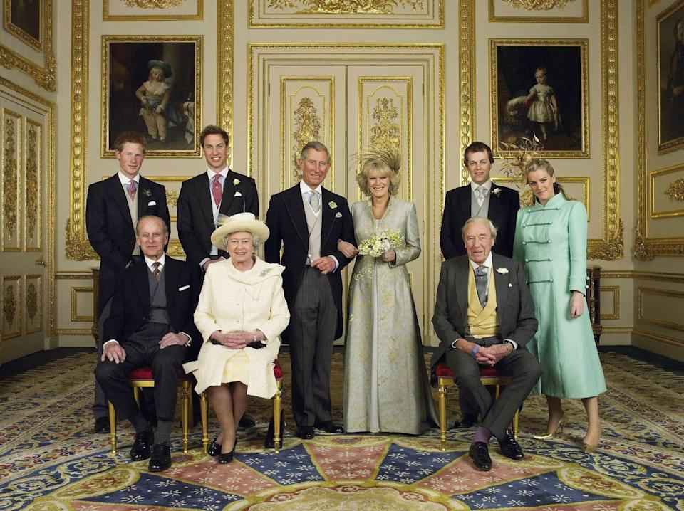 <p>In another wedding portrait, the two families pose together: Charles with his parents, Queen Elizabeth and Prince Philip, and his sons, Princes William and Harry, and Camilla with her father, Major Bruce Shand and her children, Tom and Laura Parker Bowles.</p>