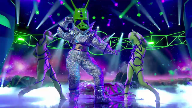 The Alien in their costume performing on The Masked Singer Australia.