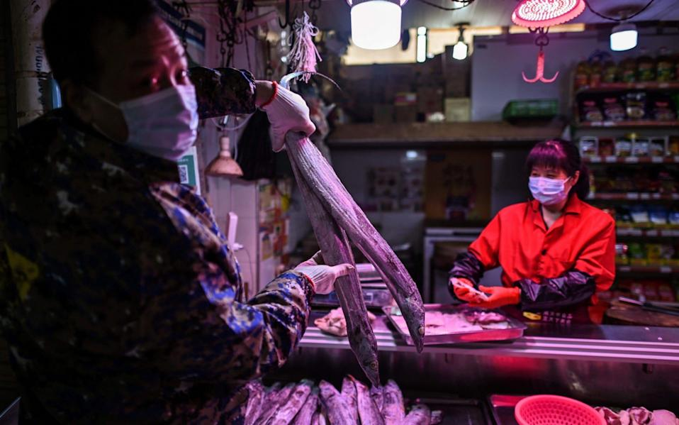 China says the coronavirus originated at a wet market in Wuhan - HECTOR RETAMAL/AFP/Getty Images