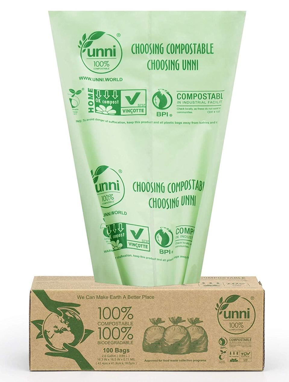<p>Need trash bags? Try these <span>Unni 100% Compostable Bags</span> ($13, originally $20, for 100).</p>
