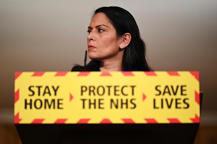 LONDON, ENGLAND - JANUARY 12: United Kingdom Home Secretary Priti Patel talks at a coronavirus press conference at Downing Street on January 12, 2021 in London, England. The Home Secretary pressed the message that the nation must abide by the government's rules to help get Covid-19 cases down again, following days of the numbers increasing. (Photo by Leon Neal/Getty Images)