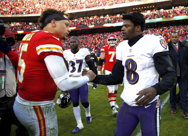 Chiefs quarterback Patrick Mahomes and Ravens quarterback Lamar Jackson could be the two best players in the NFL. (Photo by Jamie Squire/Getty Images)