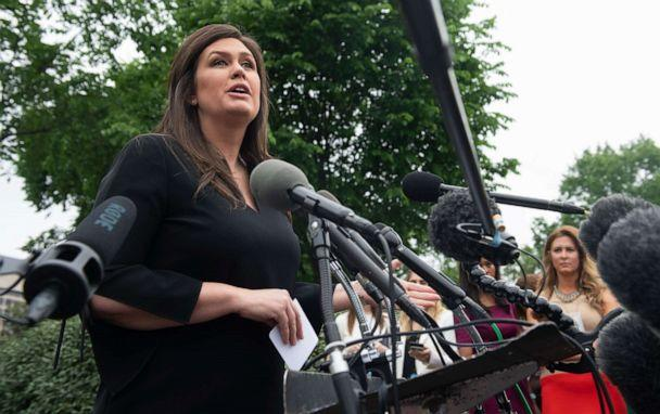 PHOTO: White House Press Secretary Sarah Sanders speaks to the press in the driveway of the White House in Washington, May 8, 2019. (Saul Loeb/AFP/Getty Images)