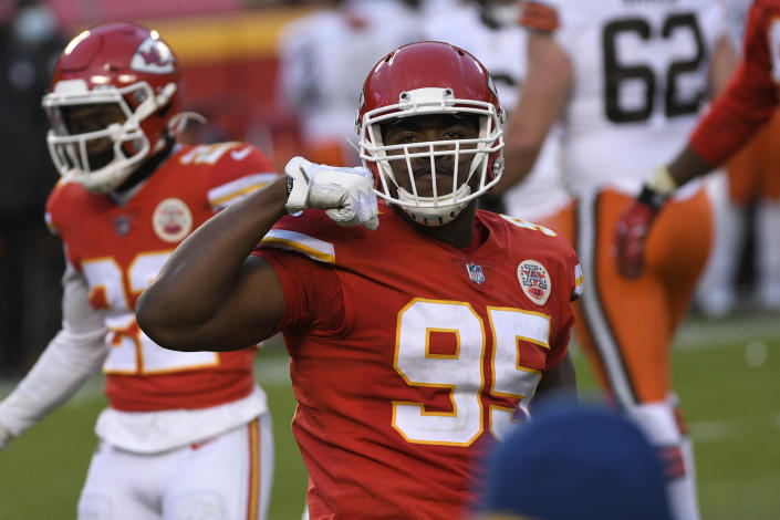 Kansas City Chiefs defensive tackle Chris Jones celebrates during the second half of an NFL divisional round football game against the Cleveland Browns, Sunday, Jan. 17, 2021, in Kansas City. The Chiefs won 22-17. (AP Photo/Reed Hoffmann)