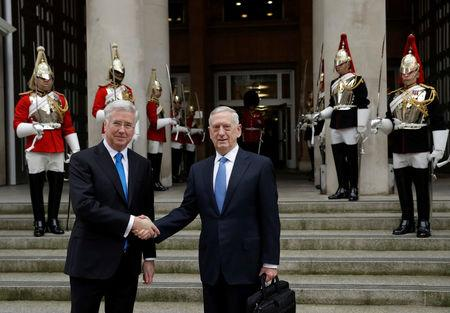 U.S. Defense Secretary James Mattis and Britain's Defence Secretary Michael Fallon shake hands before their meeting in London