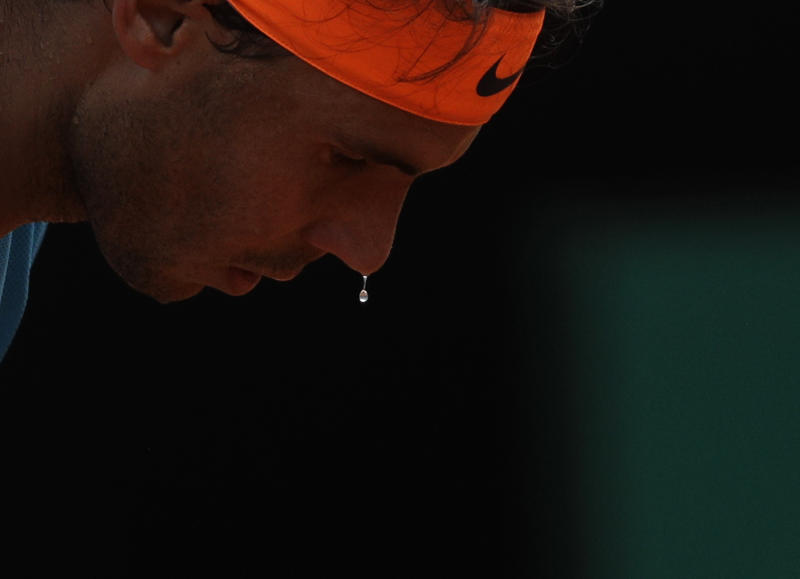 Rafael Nadal of Spain sweats during his final match against Novak Djokovic of Serbia at the Italian Open tennis tournament, in Rome, Sunday, May 19, 2019. (AP Photo/Gregorio Borgia)