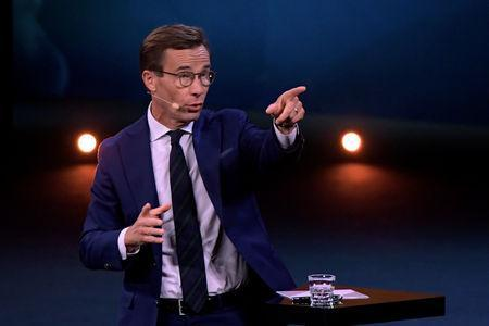 Ulf Kristersson, leader of the Moderate Party during a party leader duel with Stefan Lofven, leader of the Social Democratic Party, broadcast by Sweden's tv-channel TV4 from Linkoping, Sweden September 8, 2018. TT News Agency/Anders Wiklund/via REUTERS