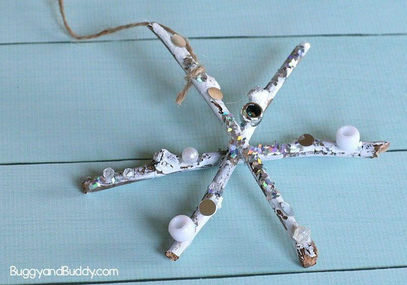 "<p>Natural sticks and popsicle sticks work equally well for this pretty and easy project. Kids can use small balls of crumpled tissue paper to decorate their snowflakes uniquely (and get lots of fine motor practice while they're at it). Use string or yarn for hanging.</p><p><em><a href=""https://buggyandbuddy.com/tissue-paper-twig-snowflake-craft-kids/"" rel=""nofollow noopener"" target=""_blank"" data-ylk=""slk:Get the tutorial at Buggy and Buddy»"" class=""link rapid-noclick-resp"">Get the tutorial at Buggy and Buddy»</a></em><br></p>"