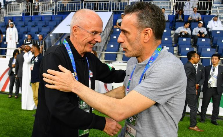 Philippines' coach Sven-Goran Eriksson (left) meets South Korea boss Paulo Bento before this week's Asian Cup game