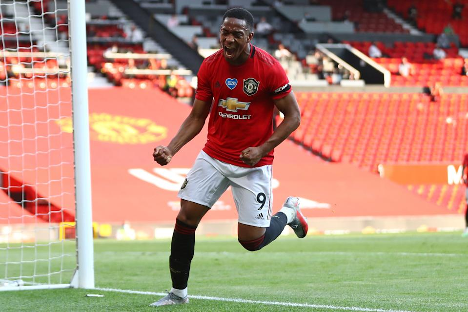 Anthony Martial celebrates his third goal in Manchester United's 3-0 win over Sheffield United. (Michael Steele/Getty Images)