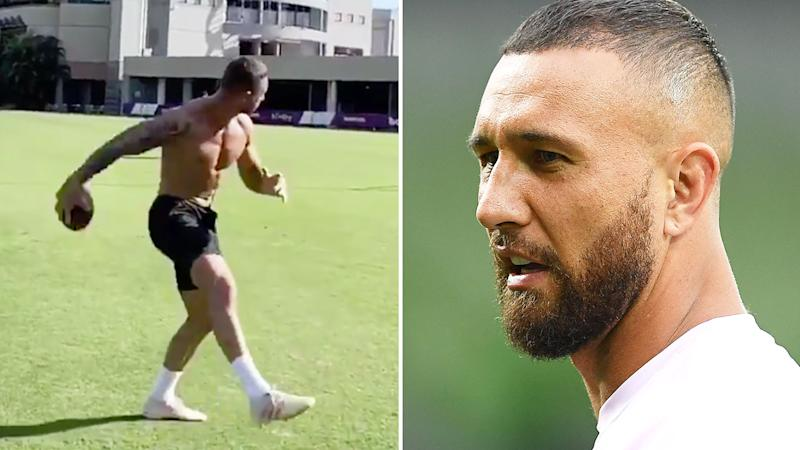 Pictured here, the Quade Cooper trick pass that has left fans in awe.
