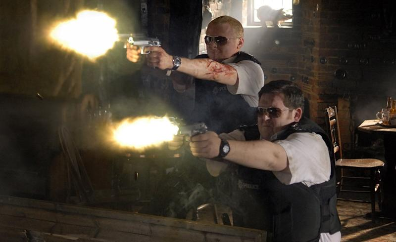 Simon Pegg and Nick Frost bring the noise in 2007's 'Hot Fuzz' (credit: Universal)