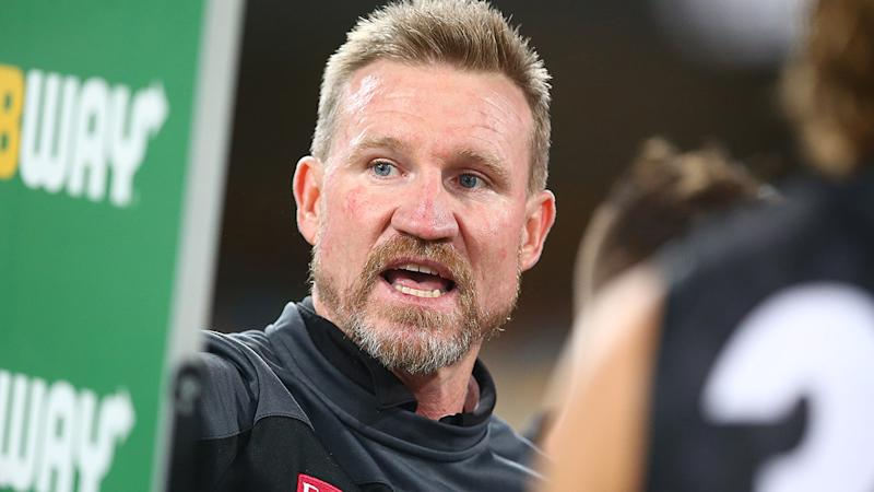 Nathan Buckley celebrated his 200th game as an AFL coach with a win, as the Magpies toppled Carlton. (Photo by Jono Searle/AFL Photos/via Getty Images)