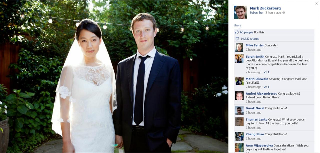 Facebook co-founder and CEO Mark Zuckerberg and Priscilla Chan are seen in this screengrab of a wedding photo posted on Zuckerberg's Facebook page May 19, 2012. Zuckerberg wed longtime girlfriend Chan on Saturday, announcing the nuptials through a status update on the social networking site. REUTERS (UNITED STATES - Tags: SOCIETY TPX IMAGES OF THE DAY ENTERTAINMENT MEDIA PROFILE BUSINESS) NO SALES. NO ARCHIVES