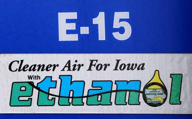 FILE PHOTO: FILE PHOTO: A gas pump selling E15, a gasoline with 15 percent of ethanol, is seen in Mason City