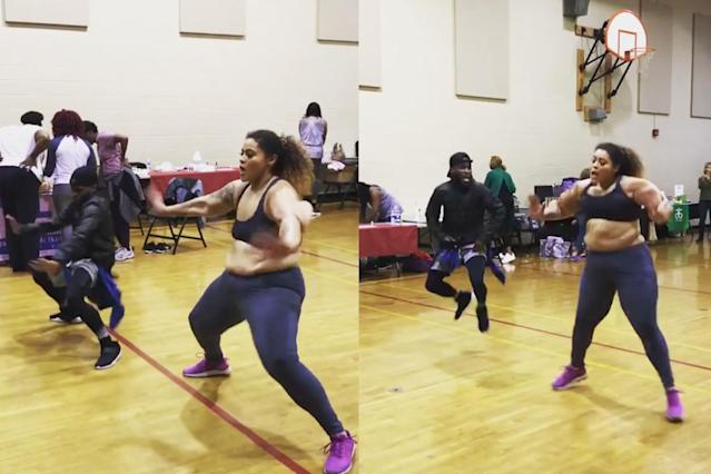Dance Your Pounds Off instructor Brandi Mallory during a dance off with her colleague that went viral. (Photo: Instagram/brandimallory)