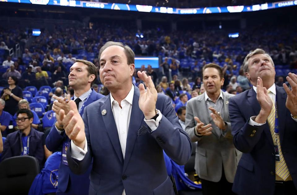 """<div class=""""inline-image__caption""""><p>Golden State Warriors owner Joe Lacob before their game against the LA Clippers at Chase Center on October 24, 2019, in San Francisco, California.</p></div> <div class=""""inline-image__credit"""">Ezra Shaw/Getty</div>"""