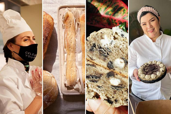 A collage of different bakers and baked goods from businesses that began during the pandemic