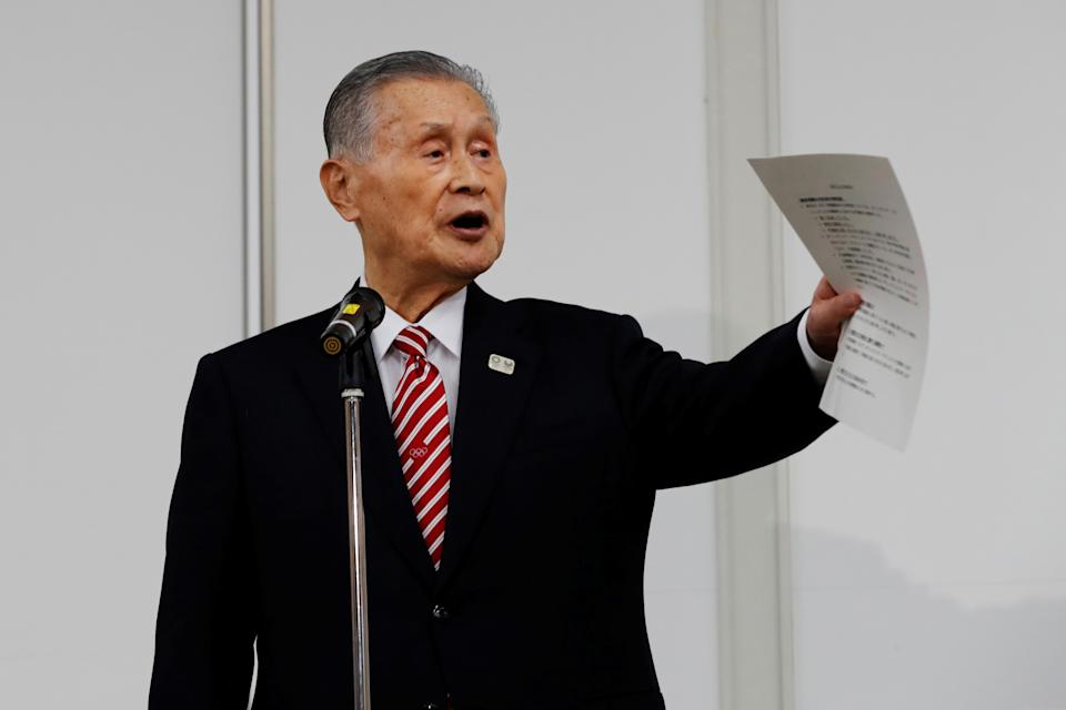 Tokyo 2020 president Yoshiro Mori speaks during a news conference in Tokyo on February 4, 2021. (Photo by KIM KYUNG-HOON / POOL / AFP) (Photo by KIM KYUNG-HOON/POOL/AFP via Getty Images)