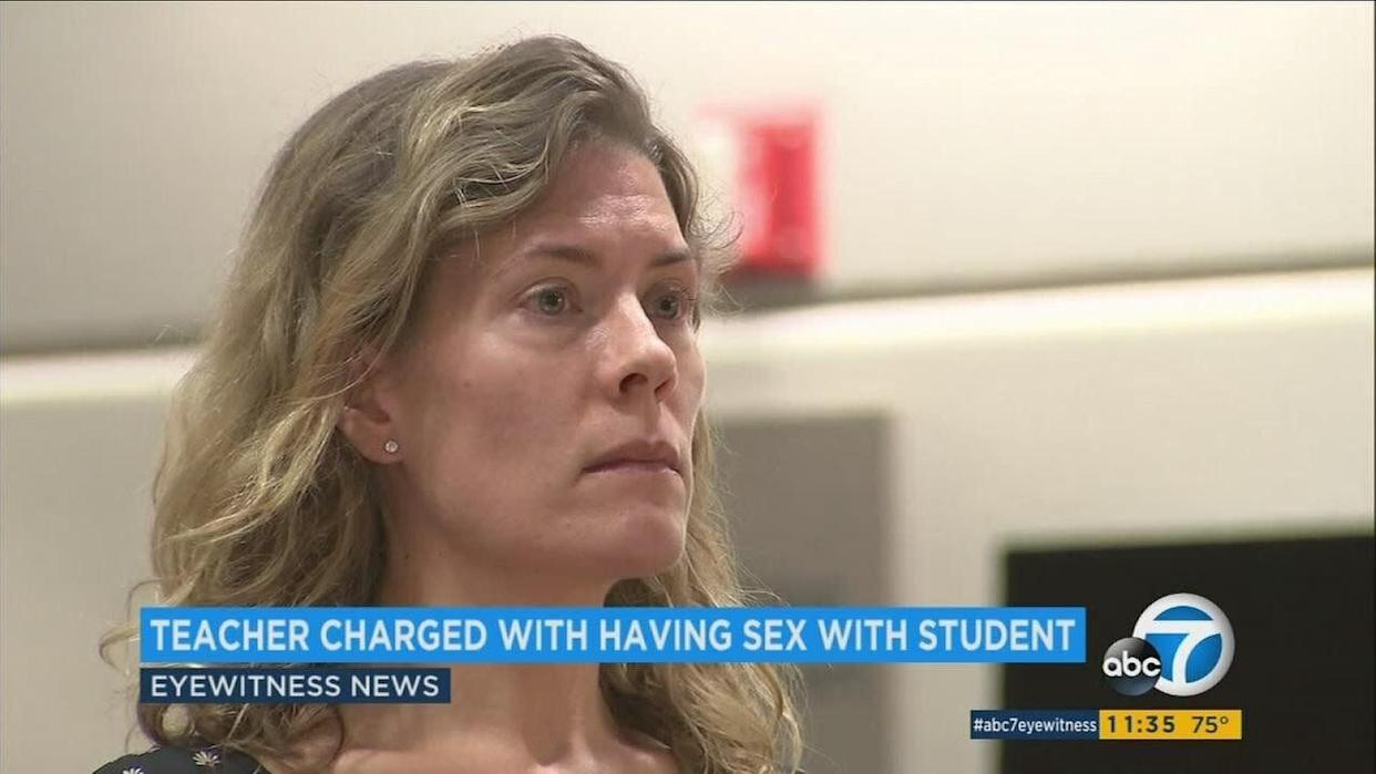 Aimee Palmitessa, a former teacher at Brentwood School, pleaded guilty to three felony counts of unlawful sexual intercourse with a minor. (Photo: KABC – Los Angeles)