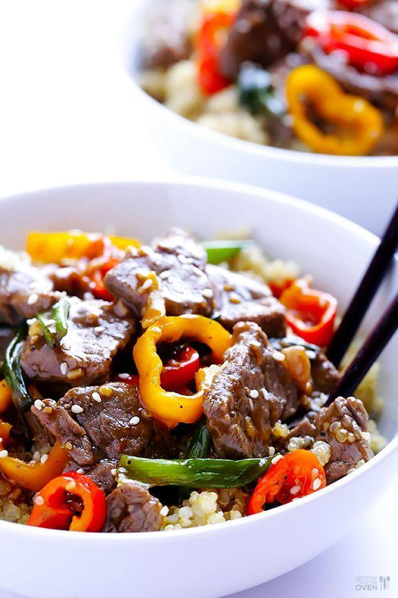 """<p>Ready in 30 minutes or less.</p><p>Get the recipe from <a href=""""http://www.gimmesomeoven.com/easy-pepper-steak-recipe/#_a5y_p=1010485"""" rel=""""nofollow noopener"""" target=""""_blank"""" data-ylk=""""slk:Gimme Some Oven"""" class=""""link rapid-noclick-resp"""">Gimme Some Oven</a>.</p>"""