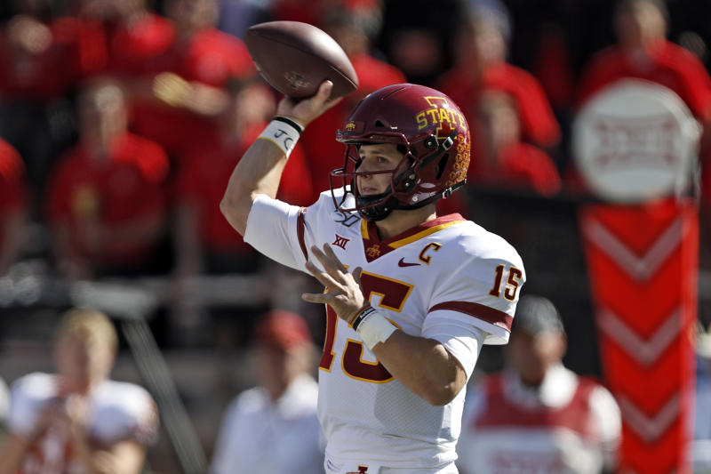 Iowa State's Brock Purdy (15) passes the ball during the first half of an NCAA college football game against Texas Tech, Saturday, Oct. 19, 2019, in Lubbock, Texas. (Brad Tollefson/Lubbock Avalanche-Journal via AP)