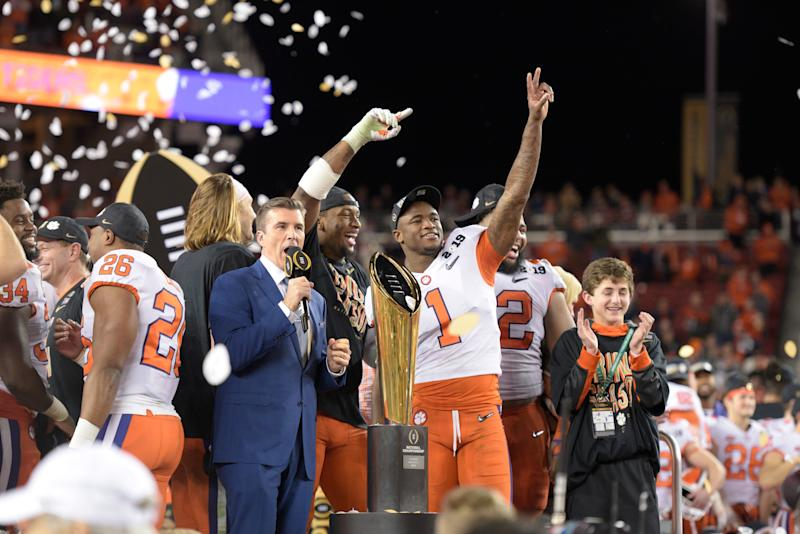 SANTA CLARA, CA - JANUARY 07: Clemson Tigers defensive end Clelin Ferrell (99) and cornerback Trayvon Mullen (1) celebrate after the Clemson Tigers defeated the Alabama Crimson Tide in the College Football Playoff National Championship game on January 7, 2019, at Levi's Stadium in Santa Clara, CA. (Photo by Douglas Stringer/Icon Sportswire via Getty Images)