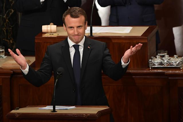 France's President Emmanuel Macron addresses joint meeting of Congress in the House chamber in Washington, D.C., on April 25, 2018. (Photo: Mandel Ngan/AFP/Getty Images)