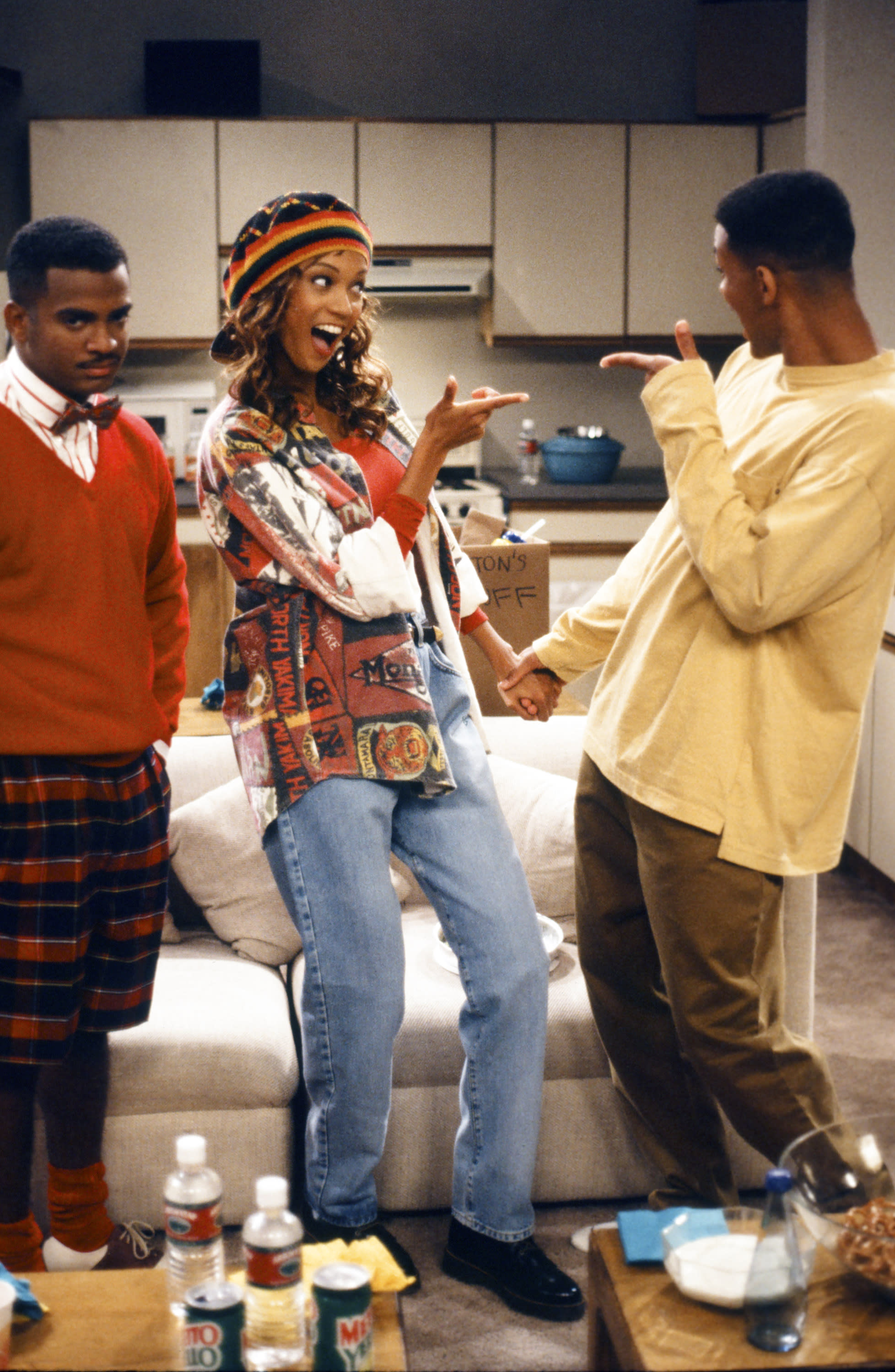 "THE FRESH PRINCE OF BEL-AIR -- ""Where There's a Will, There's a Way: Part 1 & 2"" Episode 1&2 -- Pictured: (l-r) Alfonso Ribeiro as Carlton Banks, Tyra Banks as Jackie Ames, Will Smith as William 'Will' Smith -- Photo by: NBCU Photo Bank"