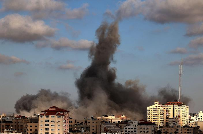 Israeli air strikes hammered the Gaza Strip (Getty Images/MOHAMMED ABED)