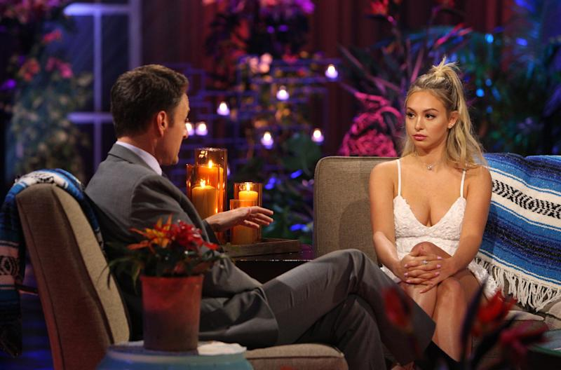 "Corinne Olympios tells her side of the story in an in-studio interview with ""Bachelor in Paradise"" host Chris Harrison on Tuesday."