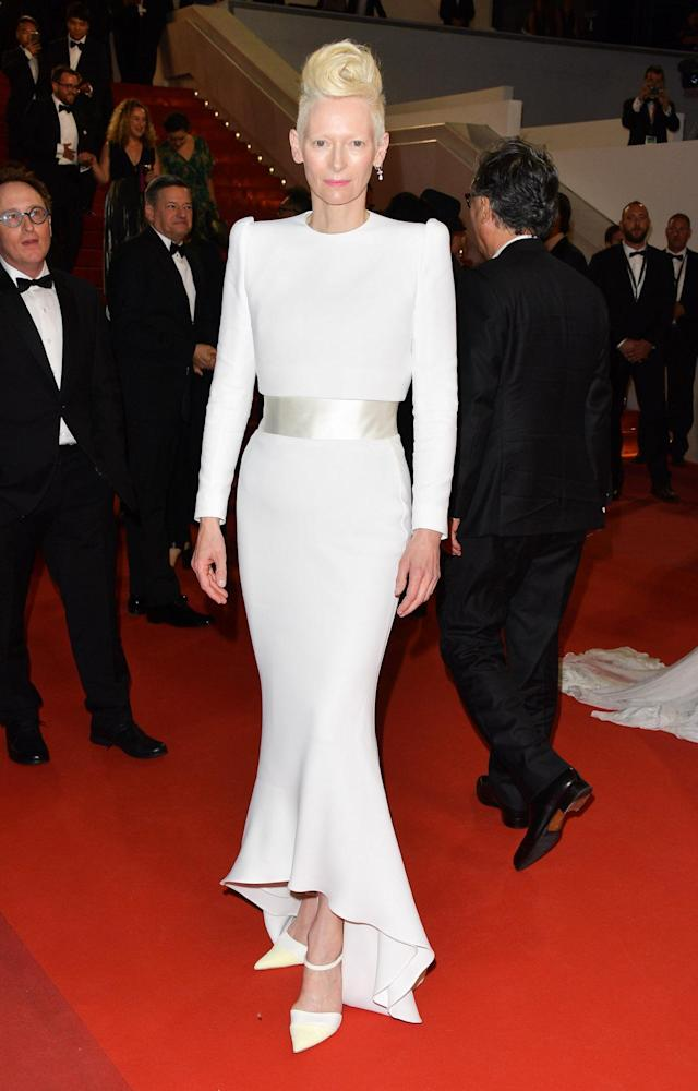 <p>Tilda Swinton let her hair do the talking with a simple yet perfectly tailored dress from Haider Ackherman. (Photo: George Pimentel/WireImage) </p>