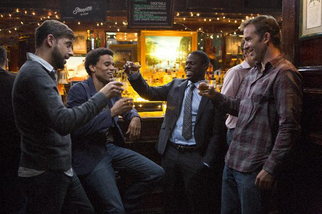 "This image released by Sony Pictures shows, from left, David Greenman, Michael Ealy, Kevin Hart and Bryan Callen in a scene from ""About Last Night."" (AP Photo/Sony Pictures, Matt Kennedy)"