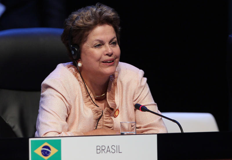 Brazil's President Dilma Rousseff attends a session of the CELAC Summit in Havana, Cuba, Tuesday, Jan. 28, 2014. Leaders from Latin America and the Caribbean are in Cuba to talk about poverty, inequality and hunger at the summit of the Community of Latin American and Caribbean States, or CELAC. (AP Photo/Cubadebate, Ismael Francisco)