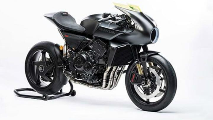 The cafe-racer style Honda CB4 Interceptor concept motorcycle is a platform for experimentation. The latest version adds an energy-generating wind tunnel to power a user information touchscreen display embedded in the gas tank.