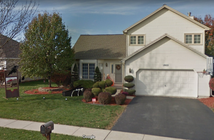 The O'Malley family home where Denise O'Malley shot her husband during the Chicago Bears game on Sept. 13, according to testimony. Image via Google Maps