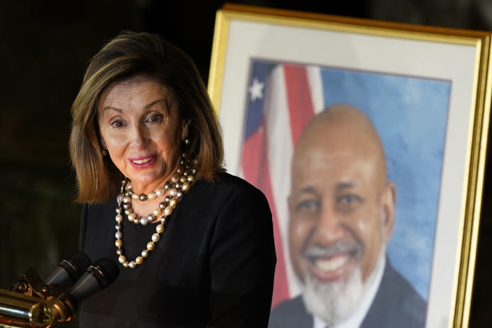 House Speaker Nancy Pelosi of Calif., speaks during a Celebration of Life for Rep. Alcee Hastings, D-Fla., in Statuary Hall on Capitol Hill in Washington, Wednesday, April 21, 2021. Hastings died earlier this month, aged 84, following a battle with pancreatic cancer. (AP Photo, Susan Walsh, Pool)