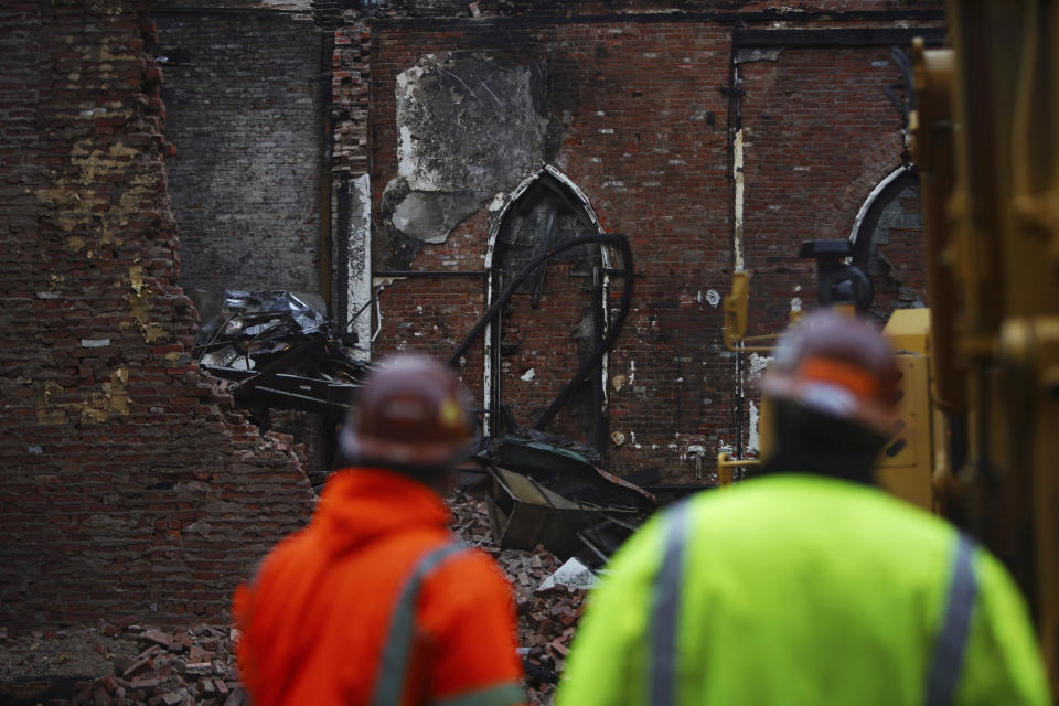 The site of Middle Collegiate Church, which was devastated by a fire earlier in the month, is seen in New York on Dec. 14, 2020. The facade and the New York Liberty Bell are the only parts of the 128-year-old church that remain. (AP Photo/Emily Leshner)
