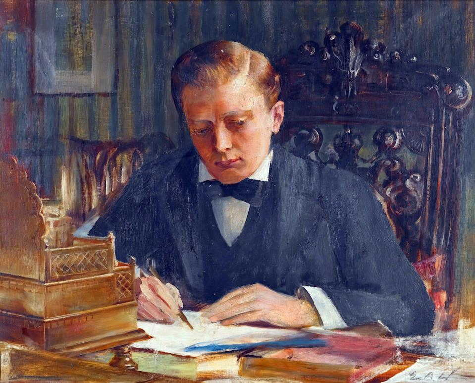 Young Churchill (1900), by EA Ward, who had painted his father at the same desk - alamy