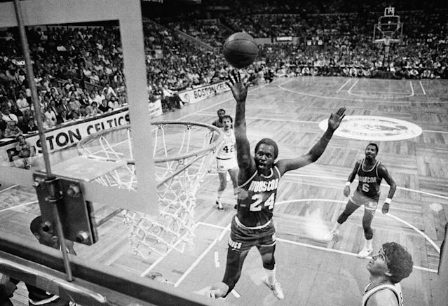 Moses Malone led the Houston Rockets into the 1981 NBA Finals, the only sub-.500 team to get there. (AP Photo)