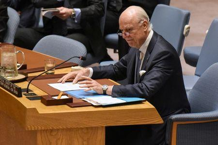 Special Envoy to Syria Staffan de Mistura delivers remarks at a Security Council meeting on the situation in Syria at the United Nations Headquarters in New York