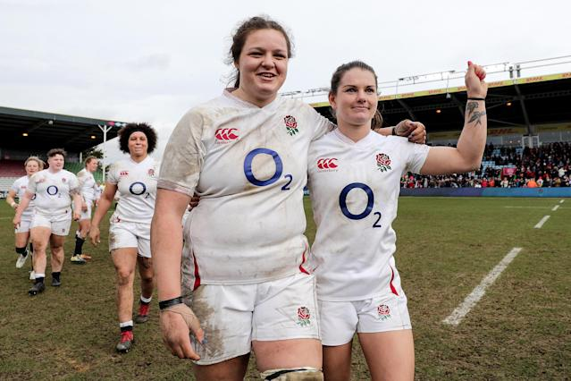 England's Sarah Beckett celebrates with Leanne Riley (right)