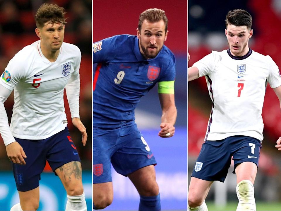 <p>John Stones, Harry Kane and Declan Rice will all be aiming to start England's Euro 2020 campaign with a bang</p> (PA)
