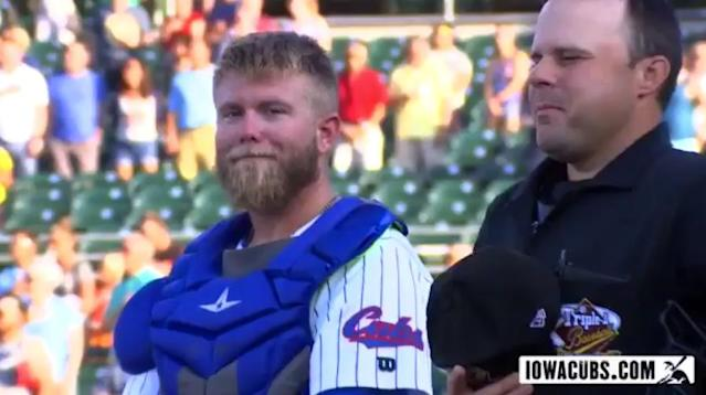 Taylor Davis flashes a smile at the ballpark camera. (Twitter/@IowaCubs)