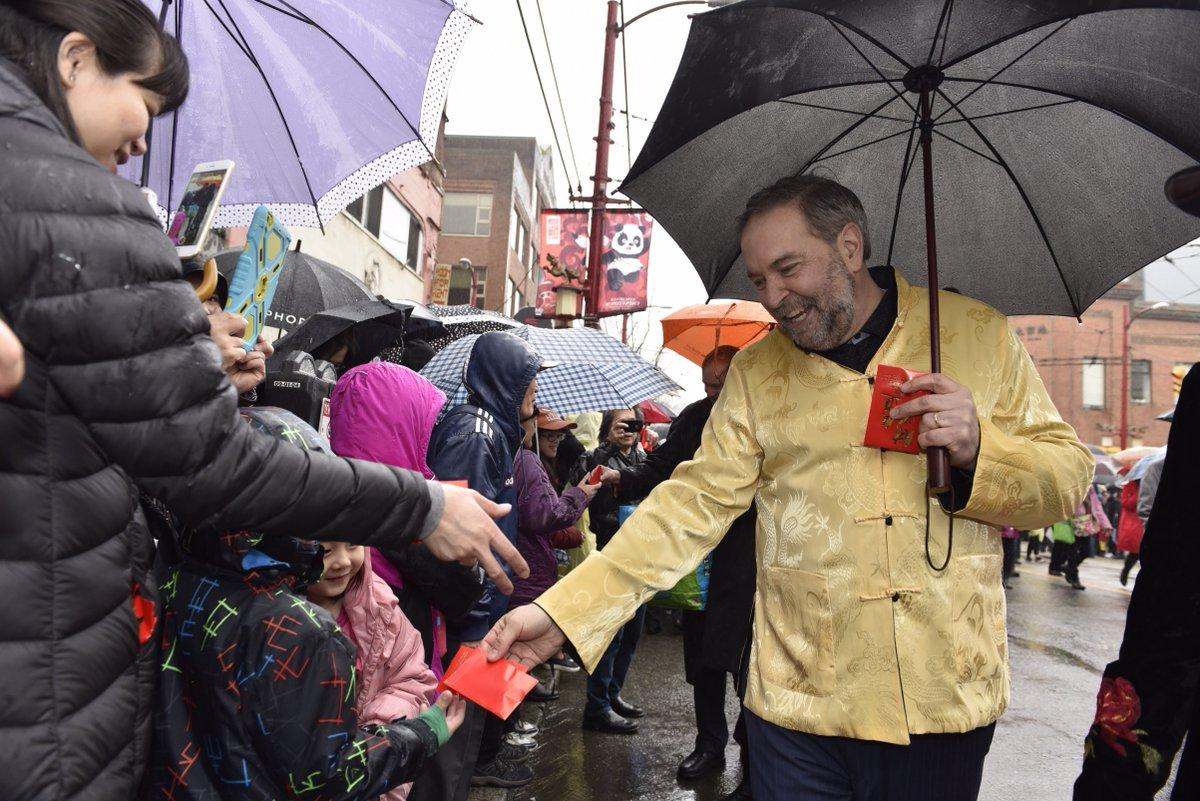 <p>Former federal NDP leader Tom Mulcair dons an east Asian style jacket during Vancouver's Chinese New Year parade on Feb. 14. Photo from Tom Mulcair/Twitter. </p>