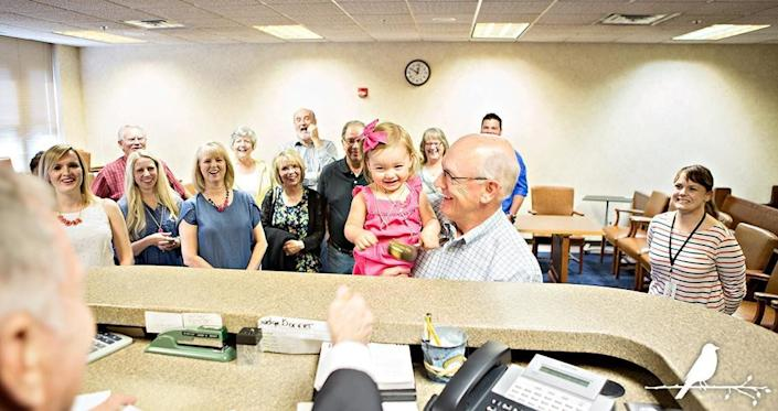 """""""As Grandpa held his new granddaughter, the judge joined in the celebration by allowing the little girl to tap his gavel on his desk."""" -- Mary Morrow"""